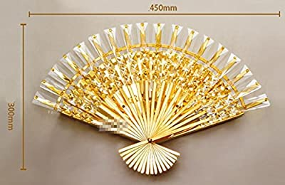 DMMSS Fan - Shaped Crystal Wall Lamp Bedside Lamp Aisle Wall Lamp Modern Simple Study Bedroom Lighting Living Room Creative Lighting
