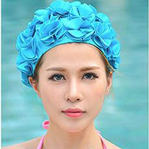 Xeno Womens Ladies Swimming Swim Cap Lace Floral Vintage Bathing Hat Long Hair Adult Sky Blue
