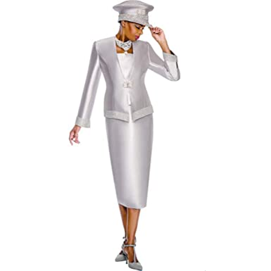 1495ef8cfff5 Kueeni Women Church Suits with Hats Church Dress Suit for Ladies Formal  Clothes White (Silver