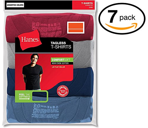 Hanes Red Label Men's Freshiq Comfortsoft Crewneck T-Shirt (Bonus Pack) (Large, Assorted)