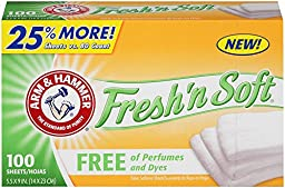 Arm & Hammer  33200-14000 Fresh N Soft Fabric Softener Sheet  Perfume and Dye Free  1 lb (Pack of 6)