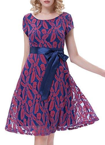 A-Line 1950s Vintage Evening Dresses for Women Cap Sleeve Size M Floral-1