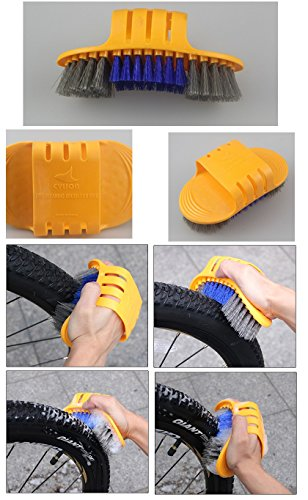 BlueSunshine 6 Pieces Precision Bike Bicycle Cleaning Brush Tool Kit Set Compact Multipurpose Practical for Mountain, Road, City, Hybrid ,BMX Bike and Folding Bike (Orange)
