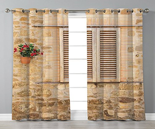 iPrint Satin Grommet Window Curtains,Tuscan,Rustic Stone House and Window Shutters Flower Pot on Wall Italian Country Home Theme,Beige,2 Panel Set Window Drapes,for Living Room Bedroom Kitchen Cafe from iPrint