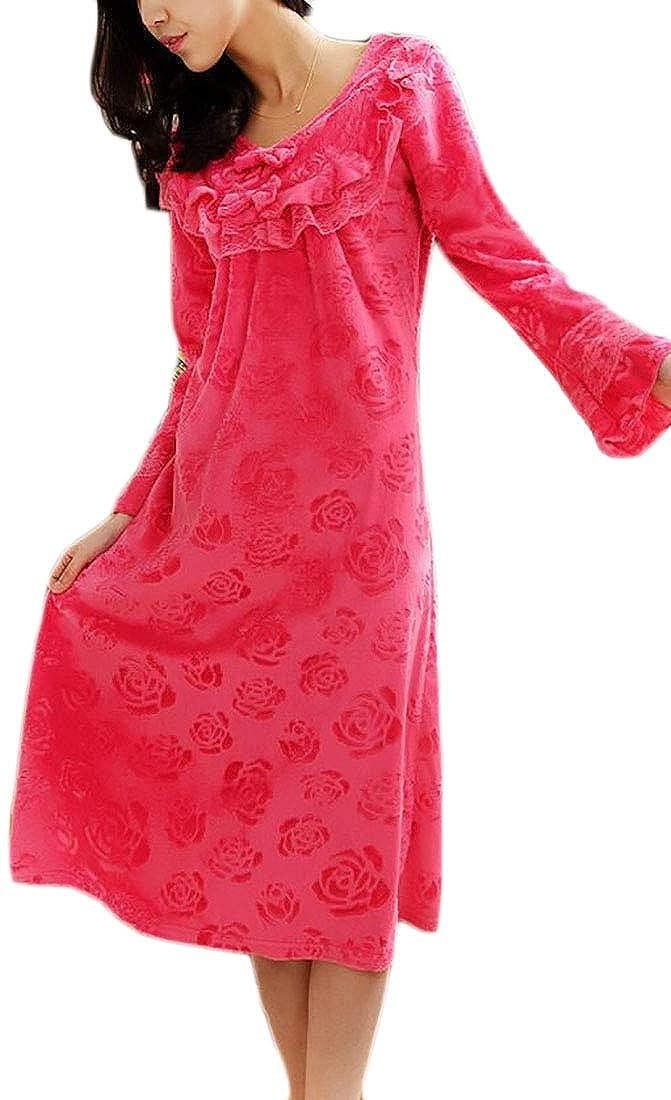 MU2M Women Loungewear Comfort Soft Long Sleeve Flannel Nightgown Sleep Dress