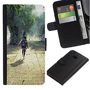 JackGot ( Natura Bella Forrest Verde 1 ) HTC One M8 la tarjeta de Crédito Slots PU Funda de cuero Monedero caso cubierta de piel