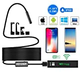 Wireless Endoscope, 2.0MP 1200P HD Inspection Camera Wi-Fi Borescope with 3.5 Meters(11.5ft) Cable and 8 LED IP68 Waterproof Snake Camera for iOS and Android Smartphone Windows/MAC System