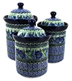 Polish Pottery Sapphire Fields 3 Piece Canister Set