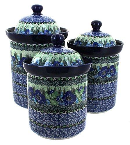 3 Piece Pottery Roses - Ceramika Artystyczna Blue Rose Polish Pottery Sapphire Fields 3 Piece Canister Set