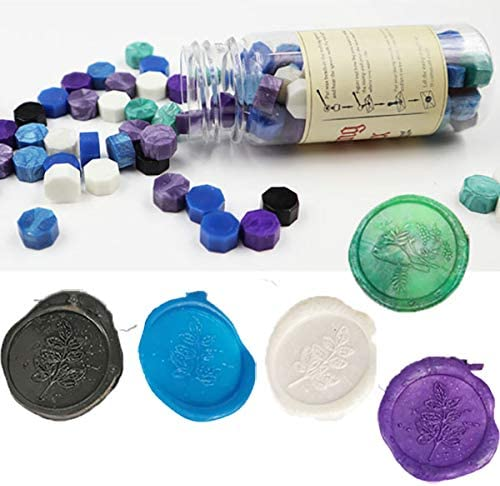 Gpeal 80 Pieces Colorful Mixed Color Sealing Wax Beads for Wax Seal Stamp Blue Green Violet Black Sealing Wax Wedding Invitations Christmas Gift Cards Celebrate Party Envelopes Packages Sealing Kit