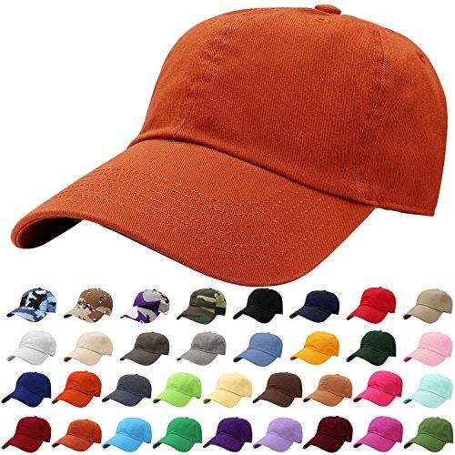 (Falari Baseball Cap Hat 100% Cotton Adjustable Size Rust Brown 1823)