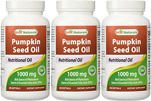 - Best Naturals Pumpkin Seed Oil Capsules, 1000 mg, 180 Count (Pack of 3)
