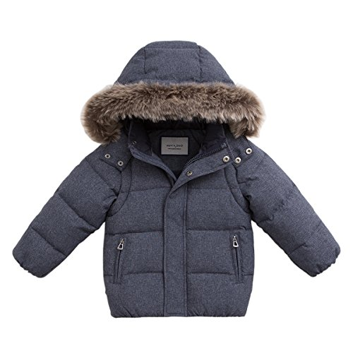 marc janie Baby Toddler Boys' Thicken Removable Hood and Sleeve Down Parka With Faux Fur Trim 24 Months Blue Grey