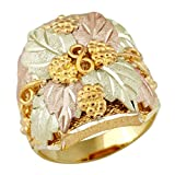 Men's Infinity Leaves Ring 10k Yellow Gold, 12k Green and Rose Gold Black Hills Gold Motif, Size 10.25