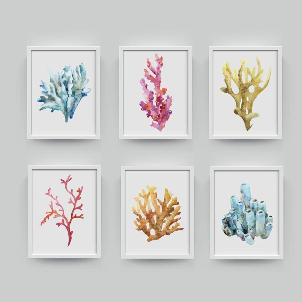 Corales L/ámina Cuadros en la pared Decoraci/ón para el hogar Impresi/ón en acuarela Arte de la pared Colgante Lienzo del ba/ño Pintura Decoraci/ón n/áutica 50x70cmx6 Sin marco