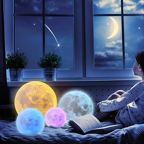 Extra Large!!! CPLA Seamless Moon Lamp 16 Colors LED Lunar Lamp Dimmable Brightness with Remote & Touch Control Large Moon Light Gifts for Love Dimeter 7.1inch by CPLA (Image #8)