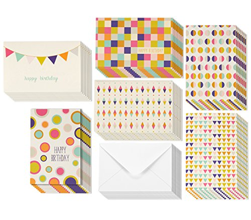 Colorful Happy Birthday Cards Assortment - Unique Retro Geometric Design Pattern - Blank Inside Cards - 48 Card Bulk Box Set - Envelopes Included - 4 x 6 Inches