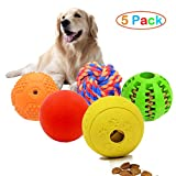 Vocalopets 5 Different Functions Interactive Dog Toys,Dog Puzzle Toys Treat Ball for Small Medium Large Dog,Dog Squeaky Toys,Chew Toys Rubber Ball,Teething Toys,Food Treat Dispensing Toys,Rope Toys