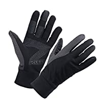 OZERO Touch Screen Gloves for Men, Cold Weather Windproof Thermal Glove for Smartphone Texting - Non-slip Silicone Gel and Hand Warmers for Mens' Cycling and Running