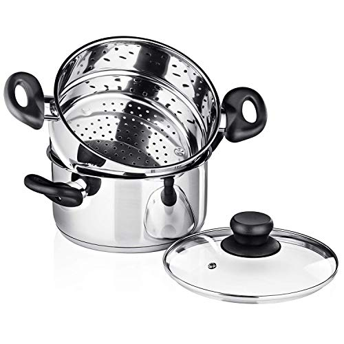 - Chef's Star 3 Piece Stainless Steel Stack and Steam Pot Set - 2 Quart Steamer and 3 Quart Saucepot Set with Lid and Pots