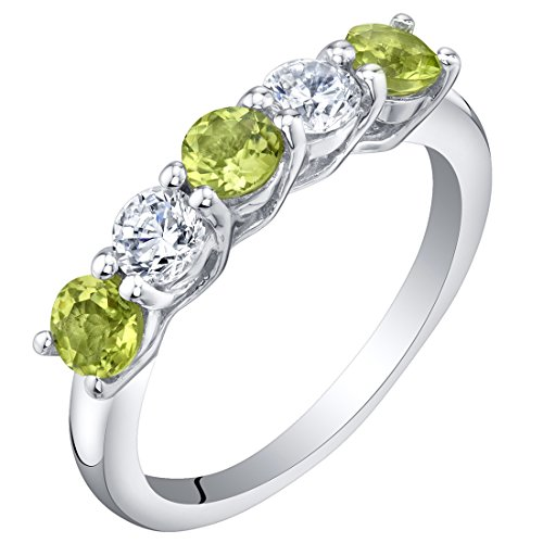 - Sterling Silver Peridot Five-Stone Trellis Ring Band Size 8