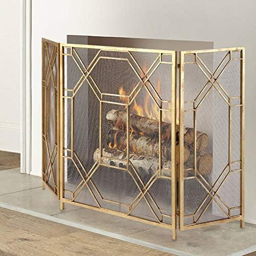 暖炉スクリーン ゴールドヨーロッパの暖炉スクリーン - 3 Panle赤ちゃんの安全火花ガードフェンス - 折り畳み式のホームリビングルームカバー
