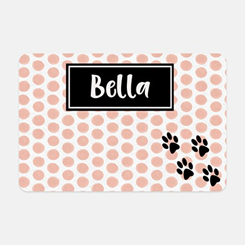 The Navy Knot Personalized Pet Mat - 10 x 16 (Pale Pink Watercolor Polka Dot Paw Prints)