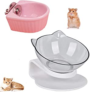 Cat Raised Stand Transparent Plastic Bowl + Ceramic Hamster Food Bowl, Pet Feeding Bowl | Pet Food Water Feeder Bowl for Rabbit Parrot Squirrels Cats and Dogs(2 Pack)