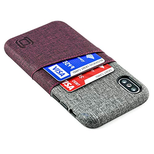 Maroon Leather Grain - Dockem Luxe M2 Wallet Case for iPhone Xs and iPhone X; Built-in Invisible Metal Plate, Designed for Magnetic Mounting; Slim Canvas Style Synthetic Leather Card Case; M-Series [Maroon and Grey]