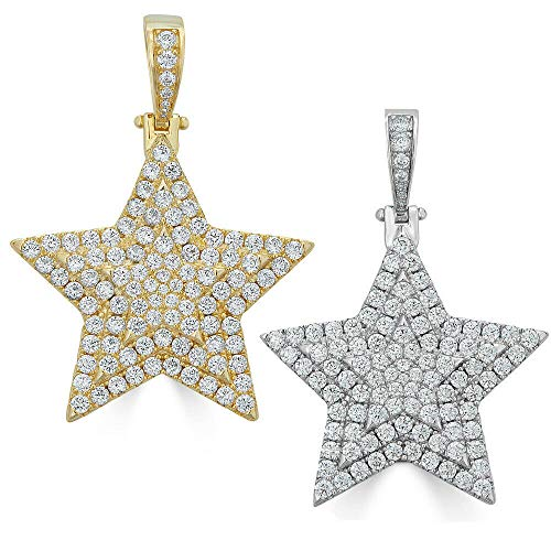 Harlembling Solid 925 Sterling Silver Iced Out Star Piece Pendant - Men