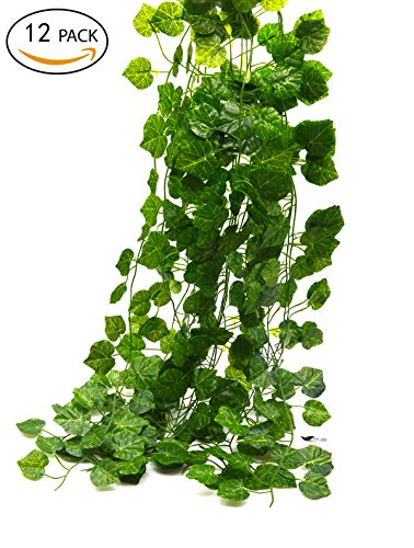 Bird Fiy 78 Ft-12 Grape leaves Artificial Fake Hanging Vine Plant Leaves Garland Home Garden Wall Decoration