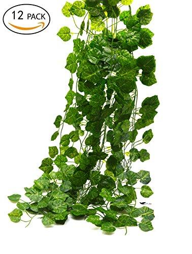 Bird Fiy 78 Ft-12 Grape leaves Artificial Fake Hanging Vine Plant Leaves Garland…