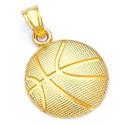 - 14k Yellow Gold BasketBall Ball Pendant