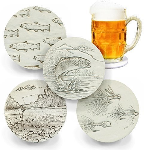 Fly Fishing Drink Coasters by McCarter Coasters, Absorbent, Light Beige 4.25 inch (Fishing Coasters)