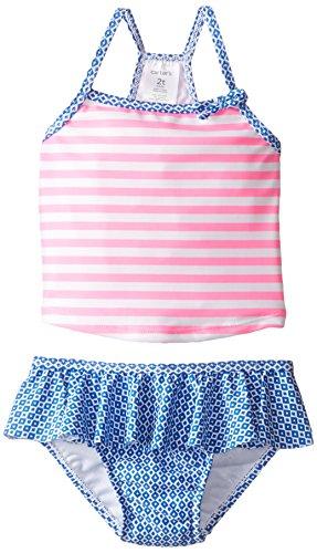 carter's Little Girls' Toddler Striped Two Piece Tankini, Stripe, 3T