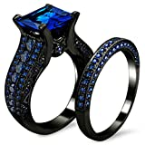 2.0ct Women's Black Gold Blue Sapphire Princess Cut CZ Topaz Anniversary Band Engagement Bridal Wedding Rings Set Jewelry (7)