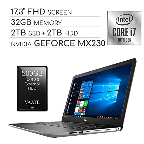 Dell Inspiron 2020 Premium 17.3″ FHD Laptop Computer, 4-Core Intel i7-1065G7 1.3 GHz, 32GB RAM, 2TB SSD + 2TB HDD, 2GB NVIDIA GeForce MX230, DVD, Webcam, Wi-Fi, HDMI, Windows 10 / 500GB External HDD