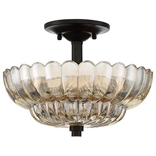 Quoizel WHP1712MC Whitecap Round Amber Semi Flush Mount Ceiling Lighting, 3-Light, 180 Watts, Mottled Cocoa (9