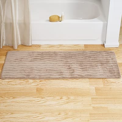 """Bedford Home Microfiber Memory Foam Bathmat - Oversized Padded Nonslip Accent Rug for Bathroom, Kitchen, Laundry Room, Wave Pattern (Mocha) - PLUSH INSERT INCLUDED- This long pile pillow cover comes with a generously filled polyester insert cushion that provides soft, relaxing comfort. VERSATILE- This 24"""" square cushion is great for providing extra comfort on your couch or window seat or can be used as a floor cushion to create extra seating in small apartments or dorm rooms. STYLISH DÉCOR- Bring the fun combination of rich color and fluffy texture to enhance your living space while enjoying the feel of luxurious comfort-place one or more in your bedroom, living room, dorm, apartment - bathroom-linens, bathroom, bath-mats - 51i%2BOZISQsL. SS400  -"""