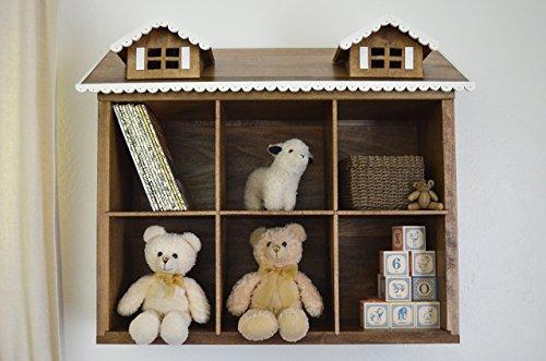 House Shelf - Nursery Storage - Nursery Wall - Doll Bookshelf House