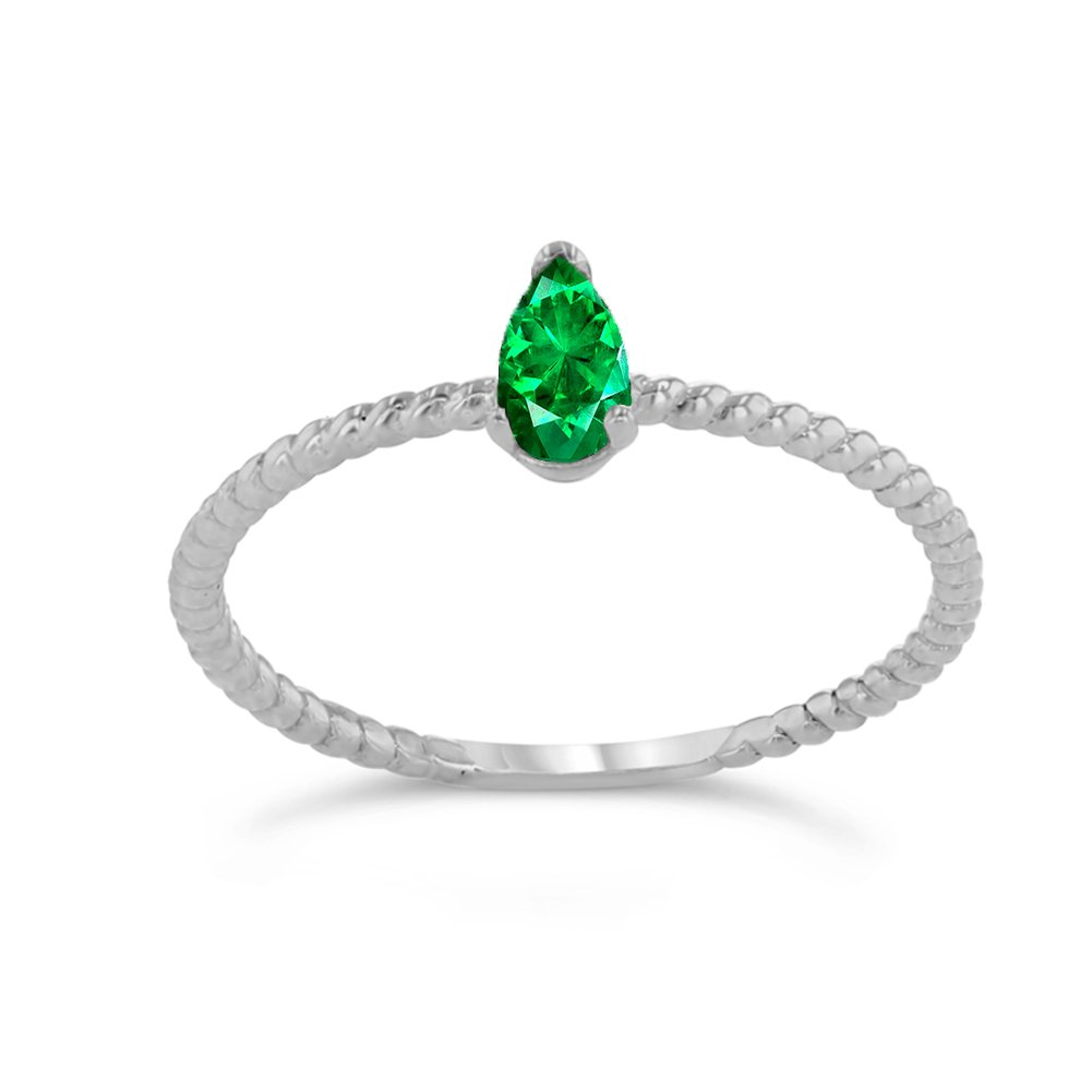 Dainty 14k White Gold Solitaire Emerald Pear-Shaped Modern Engagement Rope Ring (Size 8.5)