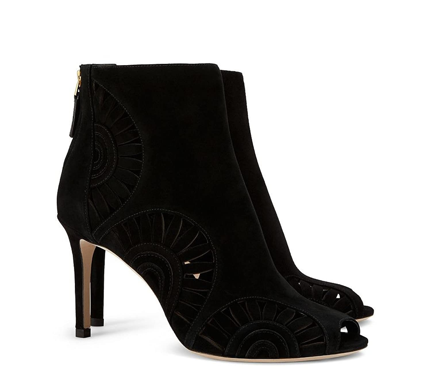 Tory Burch Leyla 85MM Bootie, Royal Suede, Black -