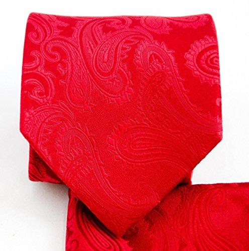 Men's Paisley Necktie Set (Red) #600-CC (Red Paisley Necktie)