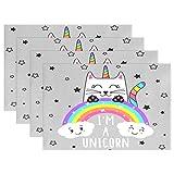 Cat Unicorn Animal Placemats Table Mats Placemat Set of 4