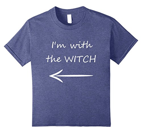 Funny Married Couple Costumes (Kids I'm with the Witch Funny Couples Men Women T Shirt 8 Heather Blue)