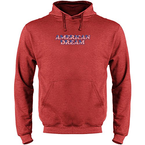 Pop Threads American Dream Heather Red L Mens Fleece Hoodie Sweatshirt by Pop Threads