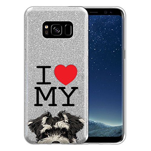 FINCIBO Case Compatible with Samsung Galaxy S8 G950 5.8 inch, Shiny Sparkling Silver Bling Glitter TPU Protector Cover Case for Galaxy S8 (NOT FIT S8+ Plus) - I Love My Schnauzer Puppy Dog