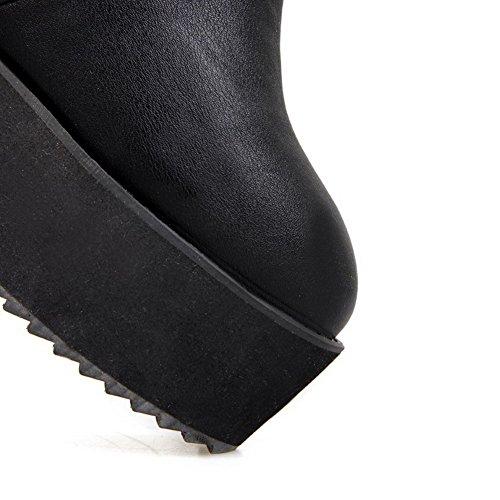 AllhqFashion Mujeres Sólido Cuña Plataforma Puntera Redonda Cerrada Botas con Pompones Negro