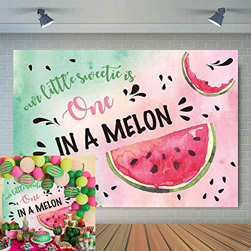 Allenjoy Watermelon Theme One in a Melon Backdrop 7X5ft Kids Happy 1st First Birthday Party Banner Watercolor Summer Fruit Photography Background for Girls Pictures Cake Table Decor Photo Booth Props