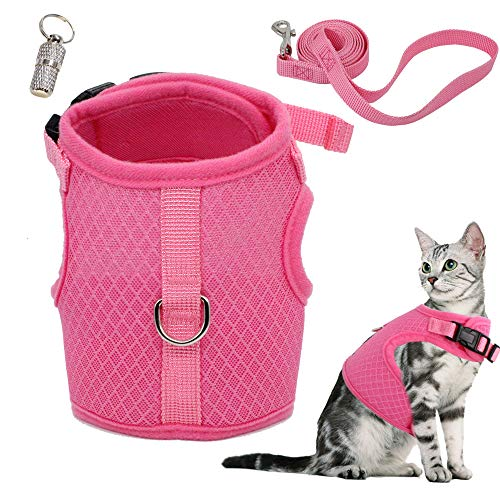 WONDERPUP Adjustable Cat Harness with Leash Set for Walking Escape Proof Soft Air Mesh for Kitty Puppy Rabbits Small Dogs Animal (S - Neck 6.5